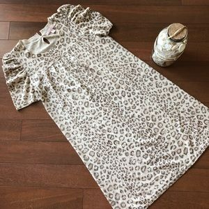 Rebecca Taylor Silk Cashmere Leopard Print Dress